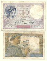 France - 5 Francs Violet 8 11 1927 Et 10 Francs Mineur 26 11 1942 Lot 2 Billets - 5 F 1917-1940 ''Violet''