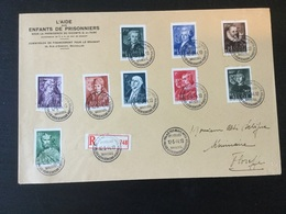 Série De Timbres N°661/9 (hommes Célèbres) Sur Pli Recommandé 1er Jour - Belgio