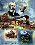 GUINEA BISSAU - 2005 - Steam Trains And Jules Verne - Perf Souv Sheet  - M N H - Guinea-Bissau