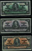 CANADA  1937 BANKNOTES SET OF 3 BAKNOTES 1, 10, 50$ VF!! - Canada