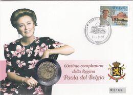 2 Scans Enveloppe Numérotée 2706 Reine Paola Pièce De 750 Lires Polizia Di Stato - Numisletters