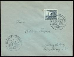 WW II Briefumschlag Mit WHW Briefmarke Schiffe: Mit WHW Sonderstempel, Weilheim - Magdeburg 1937 ,Bedarfserhaltung. - Germany