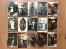15x Foto Ak Cp Mode Fashion + - 1900-1920 Robe Hutmode Hut Chapeau - Mode