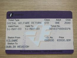 Ireland Lamrod Eireann Social Welfare Return Ticket - Bus