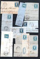E170 Bel Ensemble De 11 Fragments Lettres N° 14 Bleu Ayant Une Côte De + De 10 Euros Chacuns ... Voir Commentaires - 1862 Napoléon III.