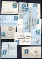 E171 Bel Ensemble De 11 Fragments Lettres N° 14 Bleu Ayant Une Côte De + De 10 Euros Chacuns ... Voir Commentaires - 1862 Napoléon III.