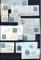 E172 Bel Ensemble De 11 Fragments Lettres N° 14 Bleu Ayant Une Côte De + De 10 Euros Chacun ... Voir Commentaires - 1862 Napoléon III.