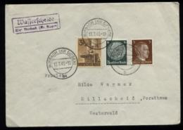 WW II Briefumschlag Mit Reichsparteitag MiF ,Sonderbriefmarke: Gebraucht Mit Landpost Stempel Wasserscheide über Burba - Germany