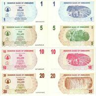 ZIMBABWE Set 4v: 1 5 10 20 Dollars 2006 P 37 38 39 40 UNC - Zimbabwe