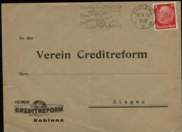 WW II Briefumschlag: Gebraucht Mit NSDAP Werbestempel Gautag,Koblenz - Siegen 1936 , Bedarfserhaltung , Gefaltet. - Germany