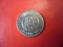 ISLANDE - LOT De 2 Monnaies De 1981 - 50 Aurar Crevette Et Dreki Le Dragon 1 KR Poisson Morue Cabillau Et Géant Bergrisi - Iceland