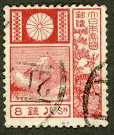 JAPAN 日本 1922 Mont Fuji & Deer - 8 Sen USED Hinged, Fuji-Yama, Chevreuil - Gebruikt