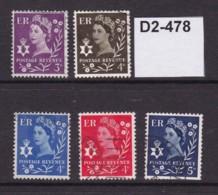 Northern Ireland 1958 3d, 4d And 5d - Northern Ireland