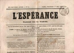 "Journal L'Espérance Du 1er Mai 1857, Avec Timbre Humide "" Timbre / Impérial 6 Centimes"" - Giornali"