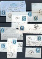 E174 Bel Ensemble De 10 Fragments Lettres N° 14 Bleu Ayant Une Côte Entre 3 Et 10 Euros Chacun ... Voir Commentaires - 1862 Napoléon III.