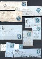E175 Bel Ensemble De 10 Fragments Lettres N° 14 Bleu Ayant Une Côte Entre 3 Et 10 Euros Chacun ... Voir Commentaires - 1862 Napoléon III.