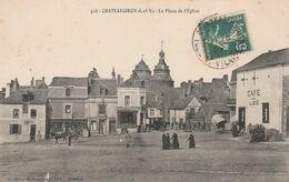 CPA:CHATEAUGIRON (35) CAFÉ LIZÉ PLACE DE L'ÉGLISE ANIMÉE...ÉCRITE - Châteaugiron