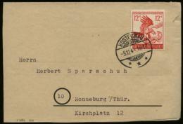 WW II DR 12 Pfg 9. November Sondermarke EF Auf Briefumschlag, Endzeitbeleg: Gebraucht Kostebrau Alter Stempel - Ronneb - Germany