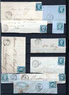 E176 Bel Ensemble De 10 Fragments Lettres N° 14 Bleu Ayant Une Côte Entre 3 Et 10 Euros Chacun ... Voir Commentaires - 1862 Napoléon III.