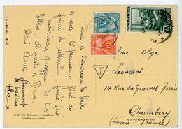 SAVOIE CP 1952 CHAMBERY SUR TAXE GERBES / SP D ITALIE - 1921-1960: Periodo Moderno
