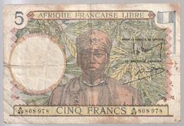 Billet  De Banque - Afrique Française Libre - Cinq Francs - Togo