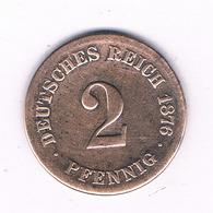 2 PFENNIG  1876 C   DUITSLAND /6819/ - [ 2] 1871-1918: Deutsches Kaiserreich