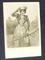 AK Tennis  Künstlerkarte Frau Tennisschläger Um 1900  #AK6230 - Tennis