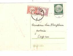 REF1751/ TP Hindenburg S/CP Consulat Belge Cologne C.Köln 12/10/33 Demande Mandat T Bleu 18 > Eupen Taxée 1,30 C.Eupen - Covers
