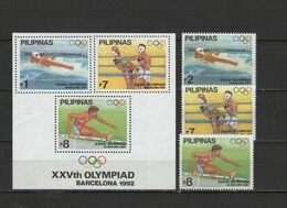 Philippines 1992 Olympic Games Barcelona, Boxing Etc. Set Of 3 + S/s MNH - Ete 1992: Barcelone