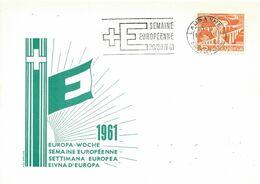 """256 - 31 - Carte PEN Avec Oblit Mécanique """"semaine Européenne 1961"""" Couronne De Lausanne - Marcofilie"""