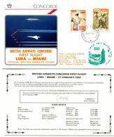 Premier Vol Commercial Concorde British Airways - Lima Miami + Certificat Du Vol - Y 525 - Concorde