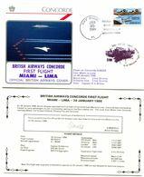 Premier Vol Commercial Concorde British Airways - Miami Lima + Certificat Du Vol - Y 526 - Concorde