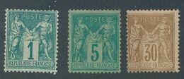 """DP-614: FRANCE: Lot Avec """"SAGE"""" N°61-75-80 Neufs Gomme Non Origine - 1876-1878 Sage (Type I)"""