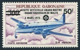 Gabon, 1972, Order Of Malta, Airplane, Overprinted, MNH, Michel 463 - Gabon (1960-...)