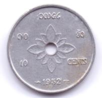 LAOS 1952: 10 Cents, KM 4 - Laos