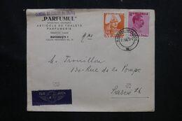 ROUMANIE - Enveloppe Commerciale ( Parfum ) De Bucarest Pour Paris En 1938 - L 70976 - Briefe U. Dokumente