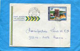 Marcophilie-lettre- GABON>Françe-Cad Franceville-1975- Stamp N°341 Hotel Du Dialogue - Gabon