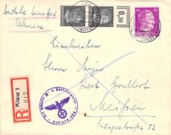 (MiF) Auf R-Brief Kiew - Leipzig Besetzg.WK II. Ukraine AKS - Besetzungen 1938-45