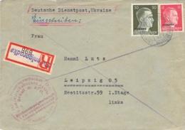 R-Brief (MiF) Deutsche Dienstpost Ukraine Swenigorodka - Lepzig 1943 AKS - Servizio