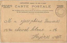 CARTE FM RETOUR POSTES BUREAU FRONTIERE SANS DATEUR 1914 POUR HYERES VAR - FM-Karten (Militärpost)