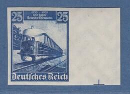 Dt. Reich 1935 Eisenbahnen 25Pfg UNGEZÄHNT Mi.-Nr. 582 U  Sauber Ungebraucht * - Ohne Zuordnung