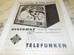 ANCIENNE PUBLICITE HAUTE PRECISION TELEVISEUR TELEFUNKEN   1959 - Televisione