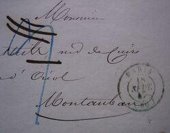 Paris 1847 Cachet Vert Sur Lettre De Frederic Ogerau Cuirs Tannés Maroquinerie Usine Montpensier Près Randan Puy De Dôme - Postmark Collection (Covers)