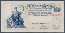 P 264a  5 PESOS 1955  Série G (Bottero - B1868) *** AUNC *** N° 92,782,709G - Argentina