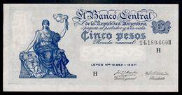 P 264d  5 PESOS 1956  Série H (Bottero - B1871) *** AUNC *** N° 14,180,660H    RARE Série !!! - Argentina