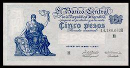 P 264d  5 PESOS 1956  Série H (Bottero - B1871) *** AUNC *** N° 14,180,662H    RARE Série !!! - Argentina
