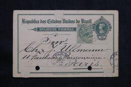 BRÉSIL - Entier Postal + Complément Pour Paris En 1908  - L 71024 - Enteros Postales