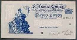 P 264d  5 PESOS 1959  Série H (Bottero - B1876) *** UNC *** N° 72,519,891H - Argentina