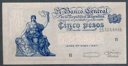 P 264d  5 PESOS 1959  Série H (Bottero - B1876) *** UNC *** N° 72,519,893H - Argentina