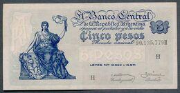 P 264d  5 PESOS 1959  Série H (Bottero - B1876) *** AUNC *** N° 90,135,779H - Argentina